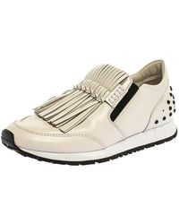 Tod's White Leather Fringe Detail Low Top Sneakers