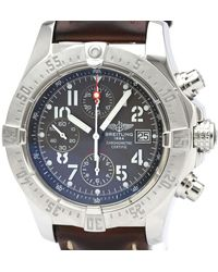 Breitling Gray Stainless Steel Avenger Chronograph Automatic A13380 Wristwatch
