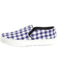 Céline Two Tone Gingham Slip On Sneakers - Blue