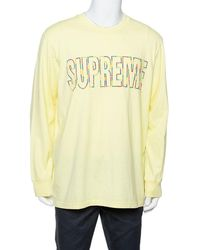 Supreme - Yellow Cotton City Embroidered Long Sleeve T-shirt - Lyst