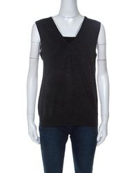 Ferragamo Charcoal Gray Knit And Floral Printed Silk Sleeveless Top Xl