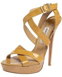 Jimmy Choo Beige Patent Leather Vamp Platform Sandals - Natural