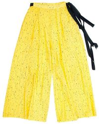 Proenza Schouler Printed Wide Leg Palazzo Pants S - Yellow