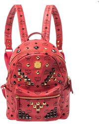 MCM Visetos Coated Canvas And Leather Small Studs Stark Backpack - Red