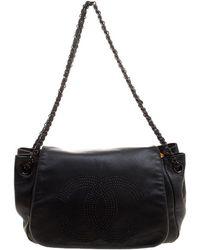 f67450d75a28 Lyst - Chanel Chain Shoulder Bag Lambskin Leather Black in Black