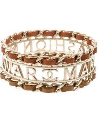 Chanel - Make Fashion Not War Leather Gold Tone Wide Bangle Bracelet 20cm - Lyst