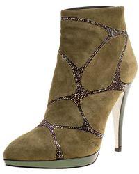 Rene Caovilla Khaki Green Suede Crystal Embellished Boots
