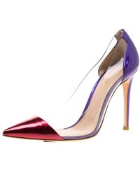 Gianvito Rossi Metallic Two Tone Mirror Leather And Pvc Plexi Pointed Toe Court Shoes Size 39.5 - Multicolour