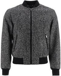 Dolce & Gabbana Wool Houndstooth Bomber Jacket - Black