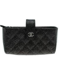 Chanel - Quilted Glitter Leather Iphone Pouch - Lyst