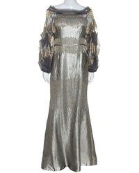 Carolina Herrera Silver Jacquard Embellished Detail Off Shoulder Gown - Metallic