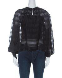 Balenciaga - Black Striped Chiffon High-low Three Quarter Sleeve Blouse - Lyst