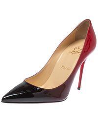 Christian Louboutin Red/black Degradè Patent Leather Decollete 554 Pointed Toe Pumps - Multicolor