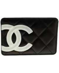Chanel - Black Quilted Cambon Ligne Leather Card Holder - Lyst