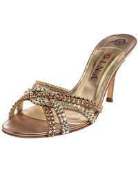 Gina Metallic Bronze Crystal Embellished Leather Slide Sandals