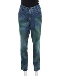 Chanel Multicolour Painted Effect Straight Fit Jeans L - Blue