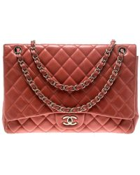 dcf6f84ea13d Chanel Quilted Patent Leather Maxi Classic Single Flap Bag in Purple ...