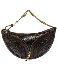 Versace Dark Brown Python Zip Detail Half Moon Hobo