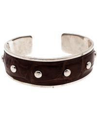 Tod's - Dark Brown Embossed Leather Studded Silver Tone Narrow Cuff Bracelet - Lyst