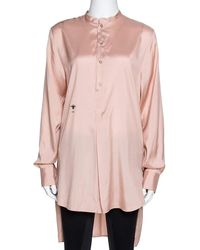 Dior Peach Logo Bee Embroidered Silk Long Sleeve Blouse M - Pink