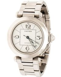 Cartier White Stainless Steel Pasha De 2324 Women's Wristwatch 35 Mm - Metallic