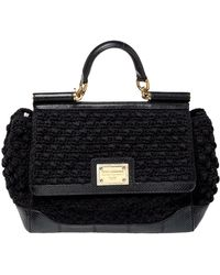Dolce & Gabbana - Black Crochet Fabric And Python Large Miss Sicily Top Handle Bag - Lyst