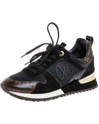 Louis Vuitton Black/brown Monogram Canvas And Mesh Run Away Lace Up Sneakers