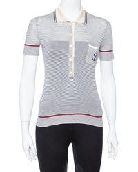 Gucci Cream Striped Silk Knit Polo T-shirt - Multicolour