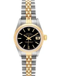 Rolex Black 18k Yellow Gold And Stainless Steel Datejust 69173 Wristwatch 26 Mm