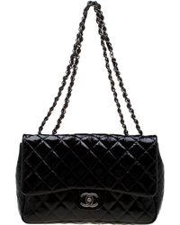 edfc436a3432 Chanel - Black Quilted Patent Leather Jumbo Classic Single Flap Bag - Lyst