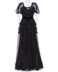 Dolce & Gabbana Black Tulle Ruffle Lace Detail Flared Maxi Dress