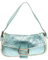 555e8c738b1e Fendi - Green off White Leather And Fur Mini Mama Shoulder Bag - Lyst