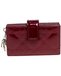 Dior Red Cannage Patent Leather Lady Gusset Card Case