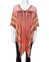 Missoni Orange Lurex Chevron Knit Poncho (one Size)