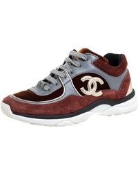 Chanel Multiclor Suede Leather And Velvet Cc Low-top Sneakers - Multicolor