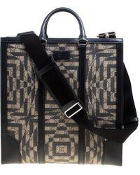Gucci Beige/ Gg Supreme Canvas And Leather Caleido Tote - Black