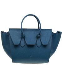 Céline Teal Blue Leather Small Tie Tote
