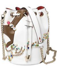 Christian Louboutin White Leather Jewel Embellished Marie Jane Drawstring Bucket Bag