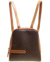 Céline Macadam Coated Canvas Backpack - Brown