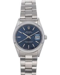 Rolex Blue Stainless Steel Oyster Perpetual Date 15200 Wristwatch 34 Mm