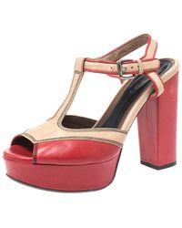 Marni Red/beige Leather T Strap Peep Toe Platform Sandals