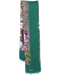Gucci Green GG Blooms Print Modal & Silk Scarf