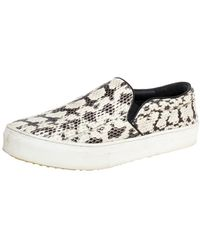 Celine White/brown Python Leather Slip On Trainers