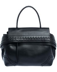 Tod's Black Leather Wave Top Handle Bag