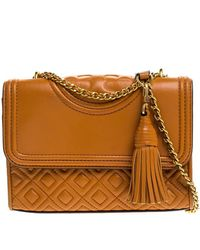 Tory Burch Orange Leather Small Fleming Shoulder Bag