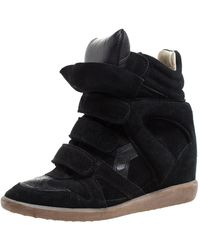 Isabel Marant Suede And Leather Bekett Wedge Trainers - Black