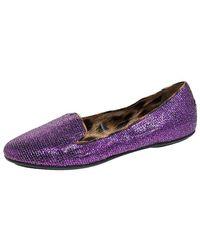 Roberto Cavalli Glitter Fabric Slip On Loafers - Purple