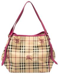 Burberry Beige/pink Haymarket Check Coated Canvas And Leather Small Canterbury Tote - Natural