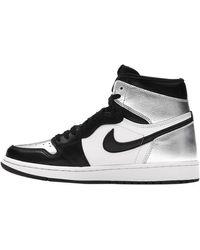 Nike Jordan 1 Silver Toe Trainers - Black
