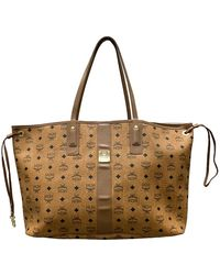 MCM Cognac Visetos Coated Canvas Shopping Tote - Brown